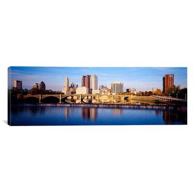 Panoramic Bridge across a River, Columbus, Ohio Photographic Print on Canvas Size: 30