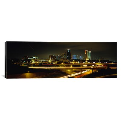 Panoramic Buildings Lit Up at Night, Kansas City, Missouri, Photographic Print on Canvas Size: 16