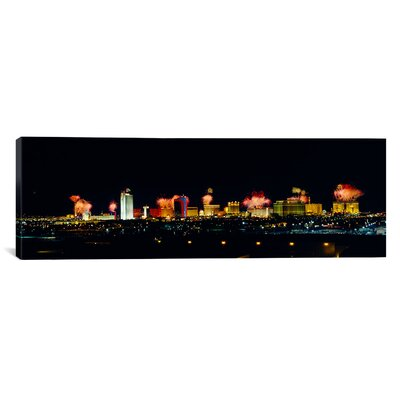 """icanvas Panoramic Buildings Lit up at Night Las Vegas, Nevada Photographic Print on Canvas - Size: 20"""" H x 60"""" W x 0.75"""" D at Sears.com"""