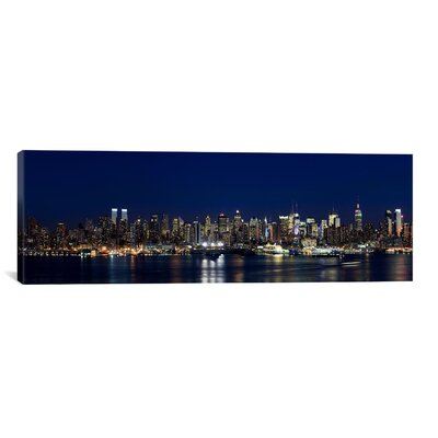 Panoramic Buildings in a City Lit Up at Dusk, Hudson River, Midtown Manhattan, New York City Photographic Print on Canvas Size: 12