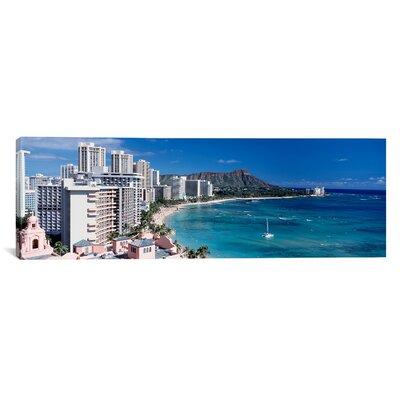 Panoramic Buildings at the Waterfront, Waikiki Beach, Honolulu, Oahu, Maui, Hawaii Photographic Print on Canvas Size: 30