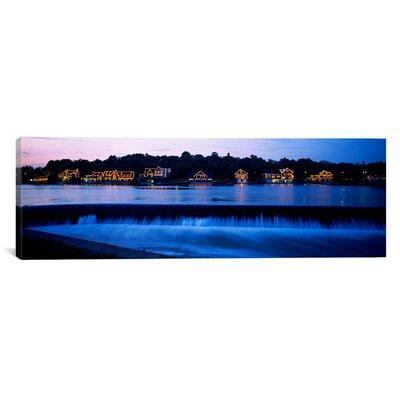 Panoramic Boathouse Row Lit up at Dusk, Philadelphia, Pennsylvania Photographic Print on Canvas Size: 24