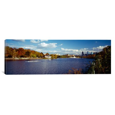 Panoramic Boat in the River, Schuylkill River, Philadelphia, Pennsylvania Photographic Print on Canvas Size: 30