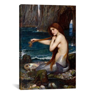 'A Mermaid' by John William Waterhouse Painting Print on Canvas Size: 12