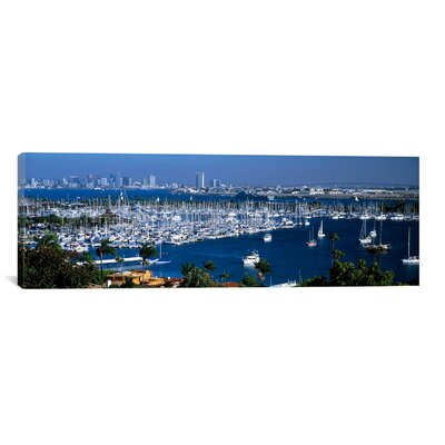 Panoramic Aerial View of Boats Moored at a Harbor, San Diego, California Photographic Print on Canvas Size: 16
