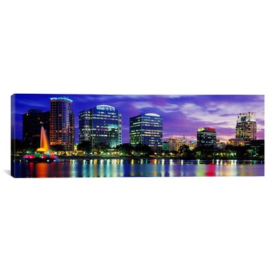 Panoramic View of an Urban Skyline at Night, Orlando, Florida Photographic Print on Canvas Size: 12