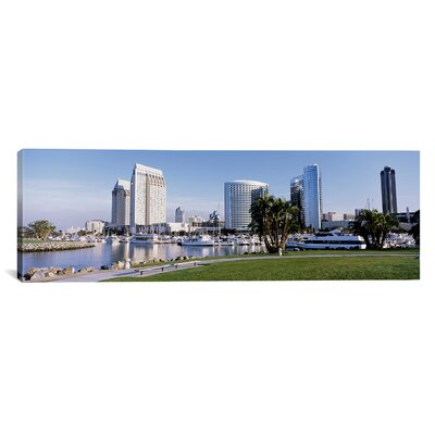 Panoramic View of Marina Park and City Skyline, San Diego, California Photographic Print on Canvas Size: 16