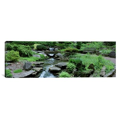 Panoramic River Flowing Through A Forest Inniswood Metro Gardens Columbus Ohio Photographic Print On Canvas Size 12 H X 36 W X 15 D image