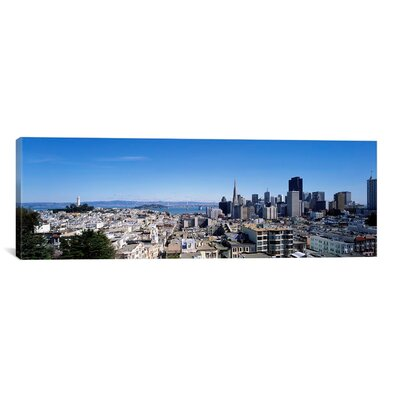 Panoramic Coit Tower, Telegraph Hill and the Bay Bridge, San Francisco, California Photographic Print on Canvas Size: 20
