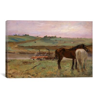 'Horses in a Meadow 1871' by Edgar Degas Painting Print on Wrapped Canvas Size: 12