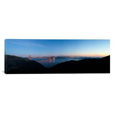 Panoramic Golden Gate Bridge from Hawk Hill, San Francisco, California Photographic Print on Canvas Size: 20