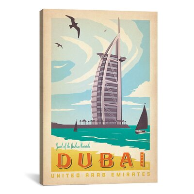 'Dubai, United Arab Emirates' by Anderson Design Group Vintage Advertisement on Canvas
