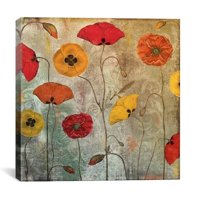 """Dancing Poppies"""" by Colour Bakery Painting Print on Wrapped Canvas 9181-1PC3-12x12"""