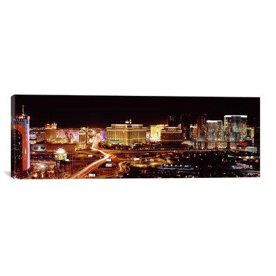Panoramic 'City Lit up at Night, Las Vegas, Nevada' Photographic Print on Canvas Size: 24