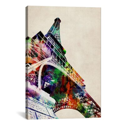 'Eiffel Tower Watercolor' by Michael Tompsett Graphic Art on Canvas Size: 26