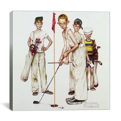 'Missed (Four Sporting Boys: Golf)' by Norman Rockwell Painting Print on Canvas 1532-1PC3-12x12