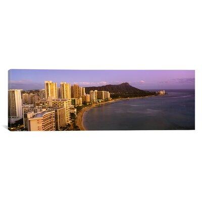 Panoramic Waterfront at Waikiki Beach, Honolulu, Hawaii Photographic Print on Canvas Size: 20