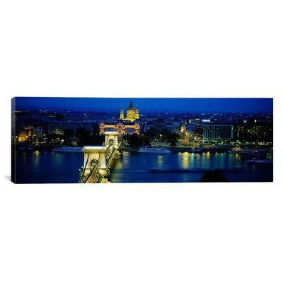 Panoramic Chain Bridge, Danube River, Budapest Photographic Print on Canvas Size: 16