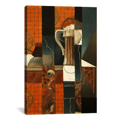 'Playing Cards and Glass of Beer' by Juan Gris Graphic Art on Canvas 14069-1PC3-12x8