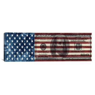 One Hundred Dollar Bill, USA Flag Graphic Art on Canvas Size: 12