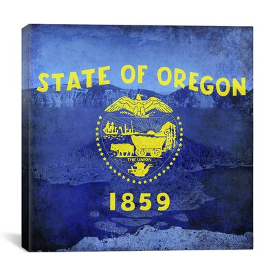 Oregon Flag, Oregon Crater Lake with Grunge Graphic Art on Canvas Size: 37
