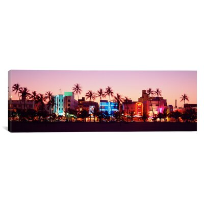 Panoramic Night Ocean Drive, Miami Beach, Florida Photographic Print on Canvas Size: 12