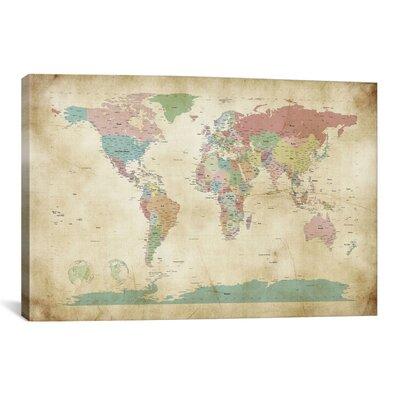 'World Cities Map' by Michael Tompsett Graphic Art on Canvas