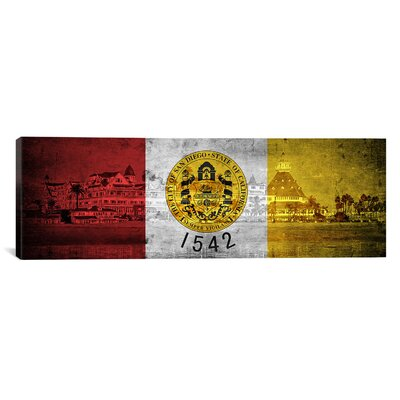 San Diego Flag, Hotel Del Coronado Beach with Grunge Panoramic Graphic Art on Canvas Size: 16