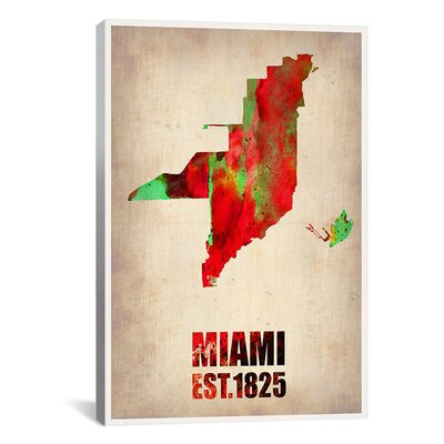 Naxart 'Miami Watercolor Map Antique Map' Graphic Art on Canvas Size: 12