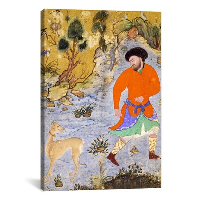 Islamic Man with a Saluki Islamic Painting Print on Canvas Size: 12