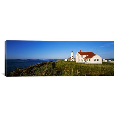 Panoramic Fort Worden Lighthouse, Port Townsend, Washington State Photographic Print on Canvas Size: 16