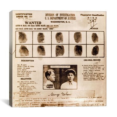 """Lester M. Gillis alias 'Baby Face Nelson' Wanted Poster - Fingerprints and Criminal History Record Graphic Art on Canvas Size: 12"""" H x 12"""" W x 0.75"""" D 8854-1PC3-12x12"""