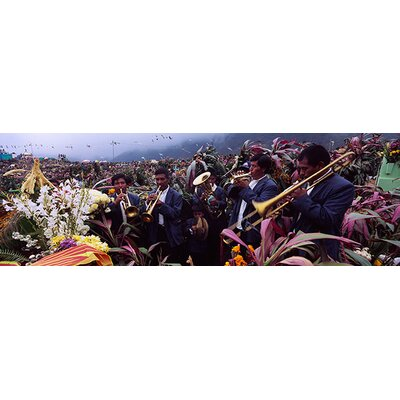 Panoramic Musicians Celebrating All Saint's Day by Playing Trumpet, Zunil, Guatemala Photographic Print on Canvas Size: 30