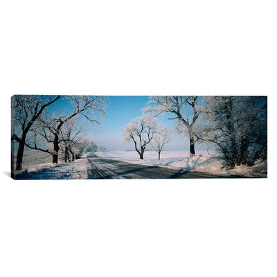 Road Passing Through Winter Fields, Illinois Photographic Print on Canvas Size: 20