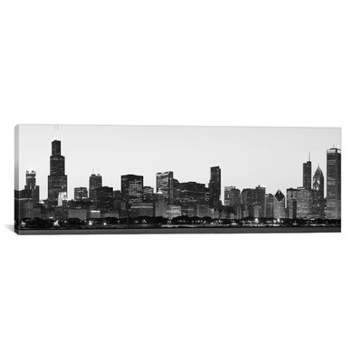 decorative accents - iCanvas Chicago Panoramic Skyline Cityscape Photographic Print on Canvas in Black and White - iCanvas Wall Art