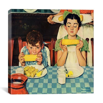 'Who's Having More Fun (Kids Eating Corn)' by Norman Rockwell Painting Print on Canvas 1534-1PC3-12x12