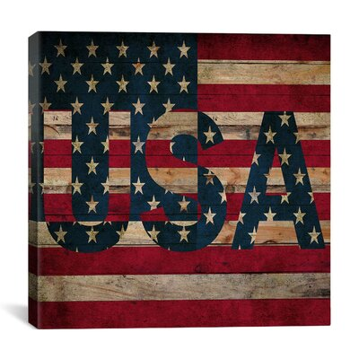 American Flag, Stars Wood Boards Graphic Art on Canvas in Red FLG412-1PC3-12x12