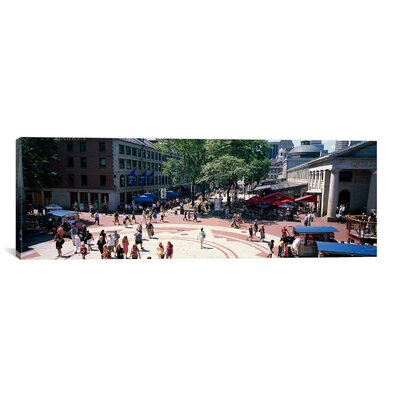 Panoramic Faneuil Hall Marketplace, Quincy Market, Boston, Suffolk County, Massachusetts Photographic Print on Canvas Size: 12