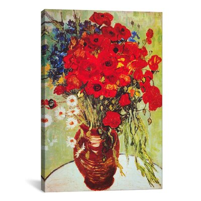 'Vase with Daisies and Poppies' by Vincent Van Gogh Painting Print on Canvas Size: 40