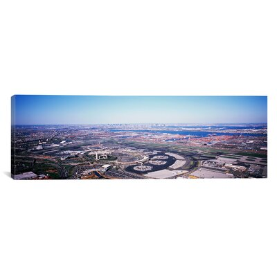 Panoramic New Jersey, Newark Airport, Aerial View with Manhattan in Background Photographic Print on Canvas Size: 16