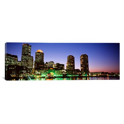 Panoramic Skyscrapers at the Waterfront Lit up at Night, Boston, Massachusetts Photographic Print on Canvas Size: 12