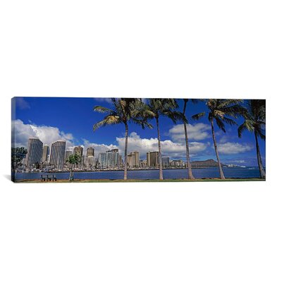 Panoramic 'Skyscrapers at the Waterfront, Honolulu, Hawaii 2010' Photographic Print on Canvas Size: 30