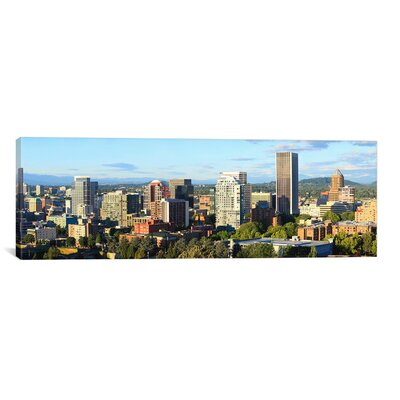 Panoramic 'Skyscrapers in a City, Portland, Oregon, 2010' Photographic Print on Canvas Size: 12