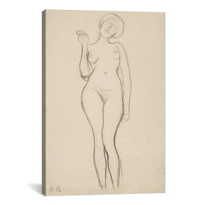 'Standing Female Nude with Raised Right Arm' by Gustav Klimt Painting Print on Wrapped Canvas 14047-1PC3-12x8