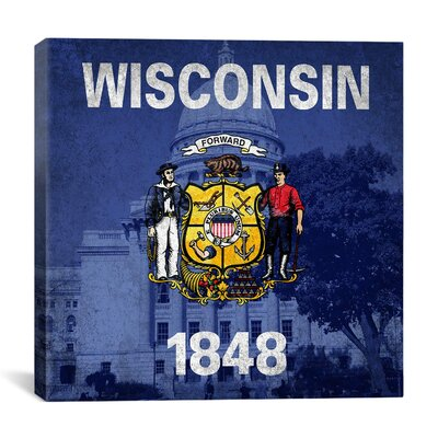 Wisconsin Flag, Wisconsin State Captiol with Grunge Graphic Art on Canvas Size: 26