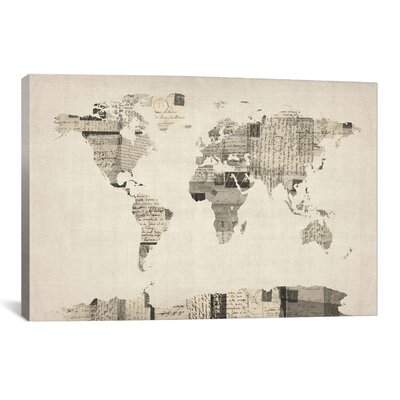 'Vintage Postcard World Map' by Michael Tompsett Graphic Art on Canvas Size: 18