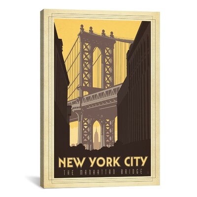 'The Manhattan Bridge - New York City, New York' by Anderson Design Group Vintage Advertisment on Canvas Size: 26