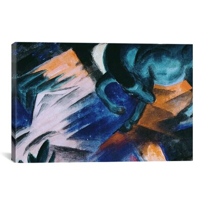 'The Green Horse' by Franz Marc Painting Print on Canvas Size: 18