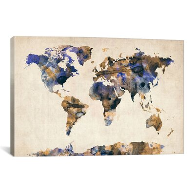 Urban Watercolor World Map V by Michael Tompsett Painting Print on Wrapped Canvas