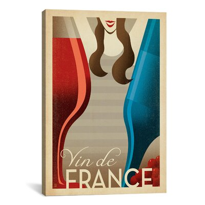 'Vin De France' by Anderson Design Group Vintage Advertisement on Canvas Size: 26